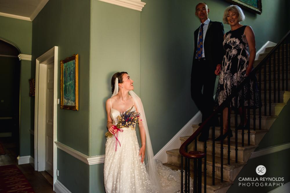 bride walking down matara wedding cotswolds