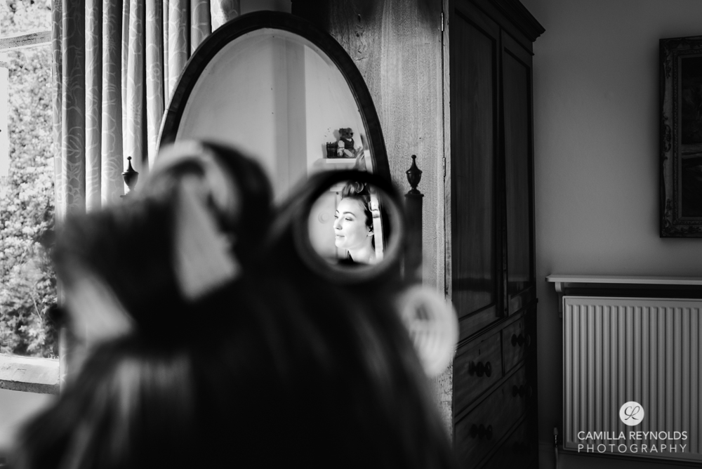 bridal hair prep candid  documentary wedding photography Cotswolds
