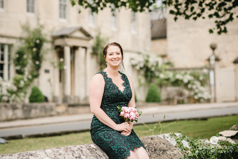 bride green wedding dress cotswold photography