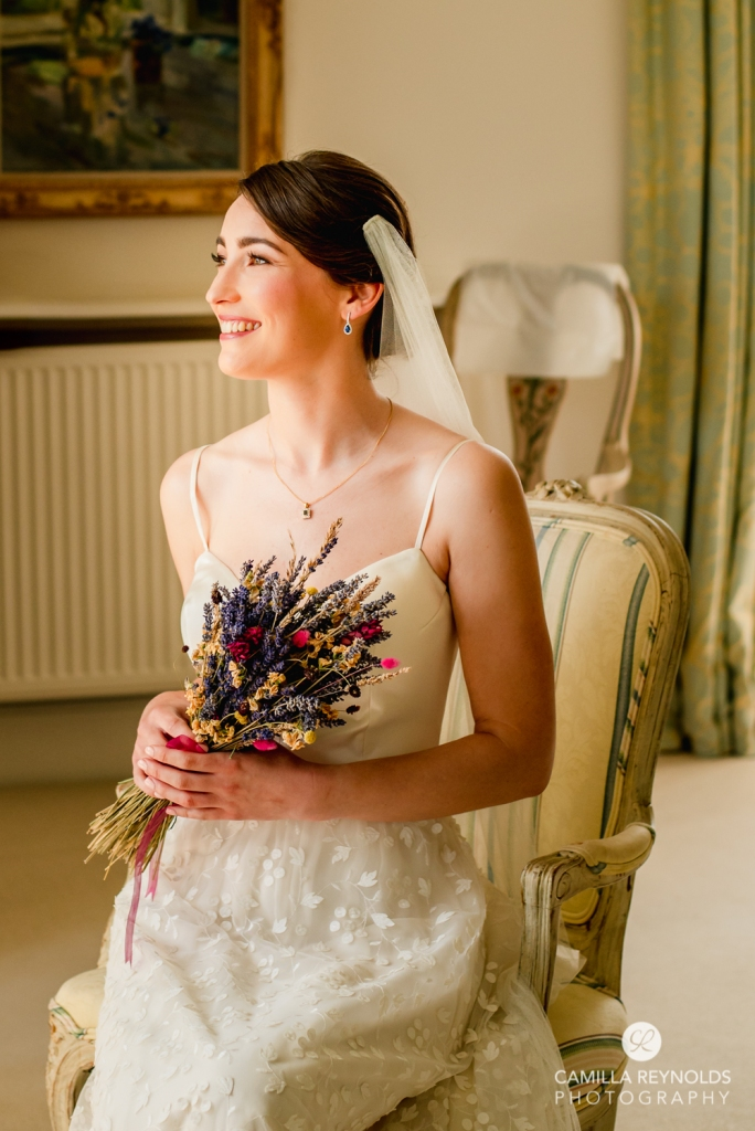 sitting bride portrait romantic wedding photography cotswolds uk
