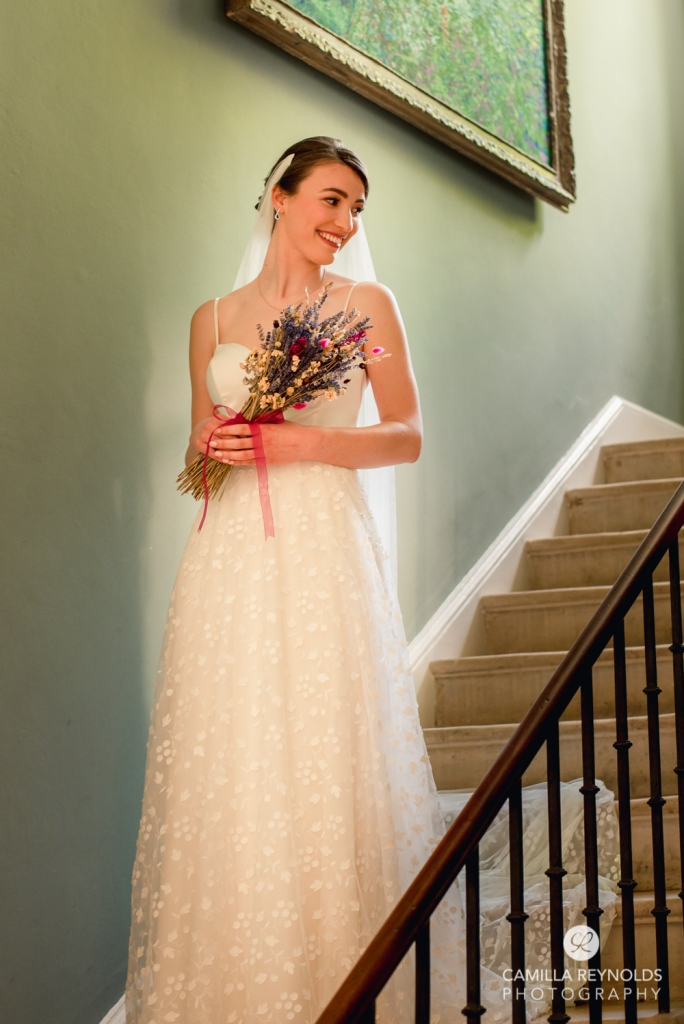 painterly wedding photography bride staircase Wiltshire Cotswolds
