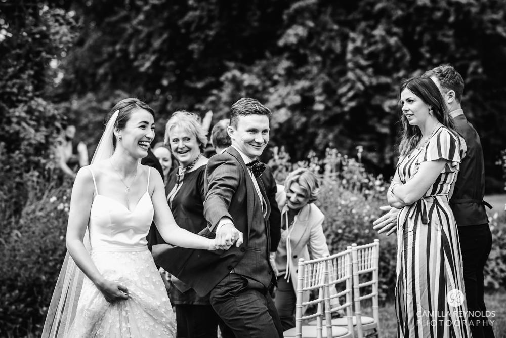 happy bride groom tetbury tythe barn wedding photography