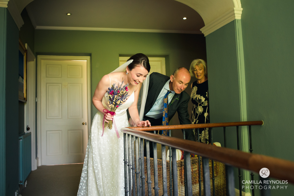 fun wedding photos bride and father cotswolds