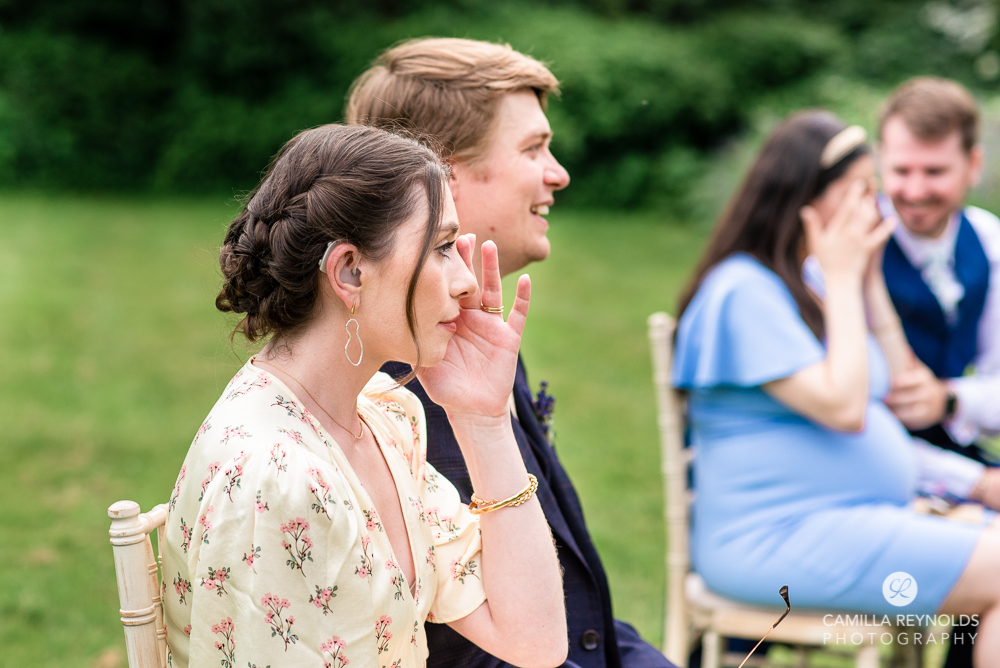 guests crying natural documentary wedding photography somerset