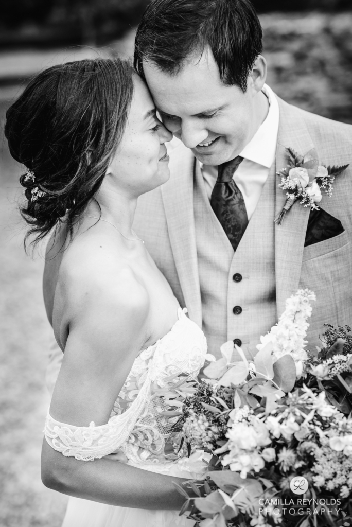 bride and groom black and white wedding oxfordshire