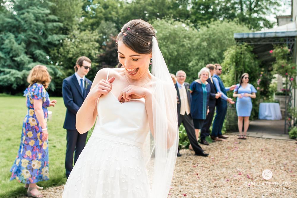 bride laughing wedding dress matara wedding