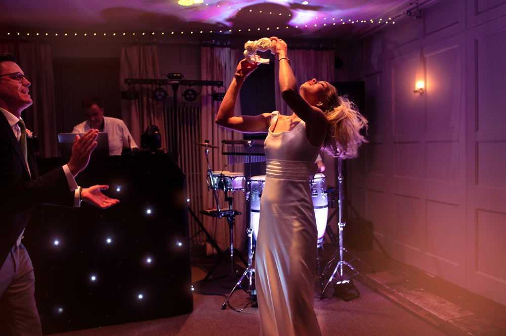 bride dancing vibrant relaxed wedding photography barnsley hotel  uk