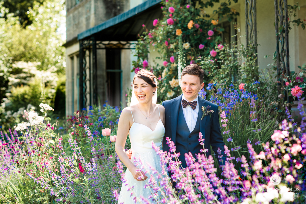 bride and groom flower garden colourful natural wedding photography