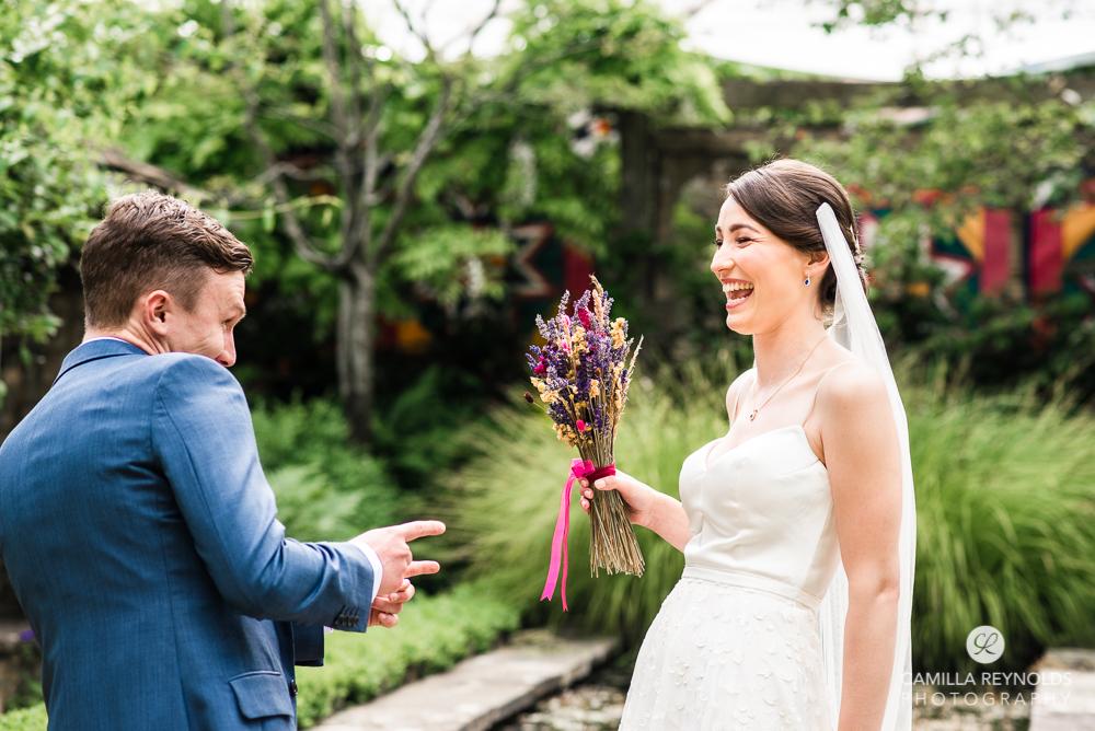 bride and groom happy colourful wedding photography matara gloucesetershire