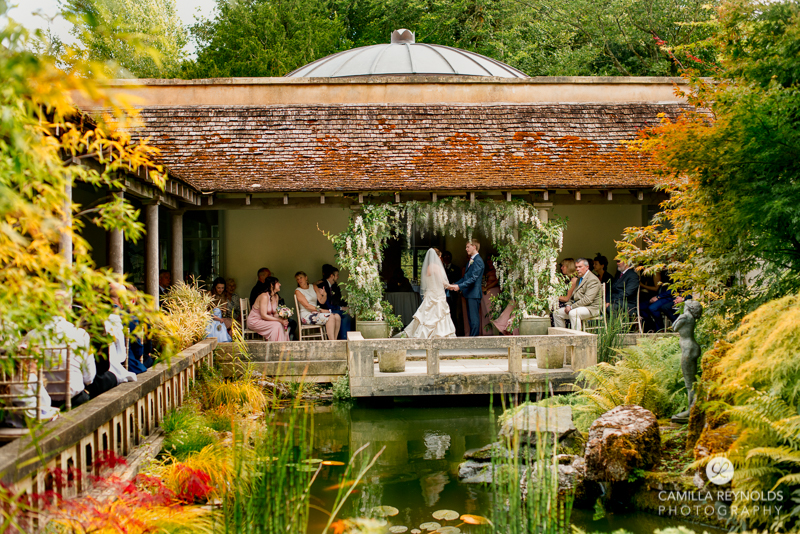 bright colourful autumn wedding ceremony matara Gloucestershire