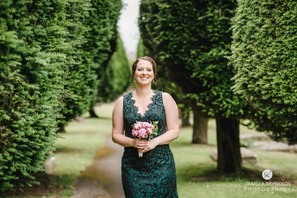 bride green dress tree alley cotswold wedding