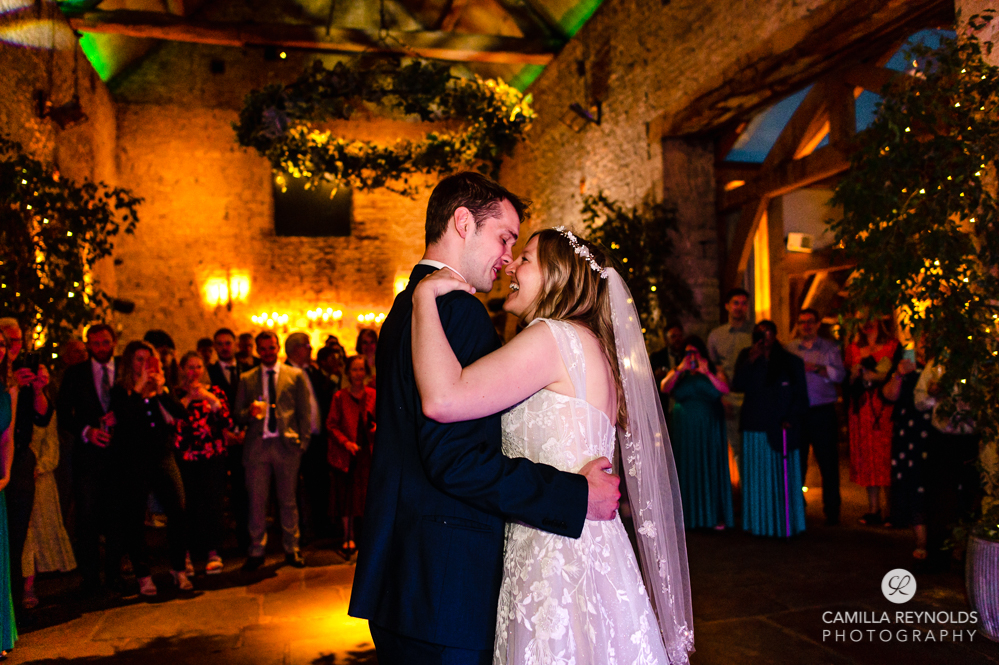 bride and groom first dance cripps barn cotswold photography