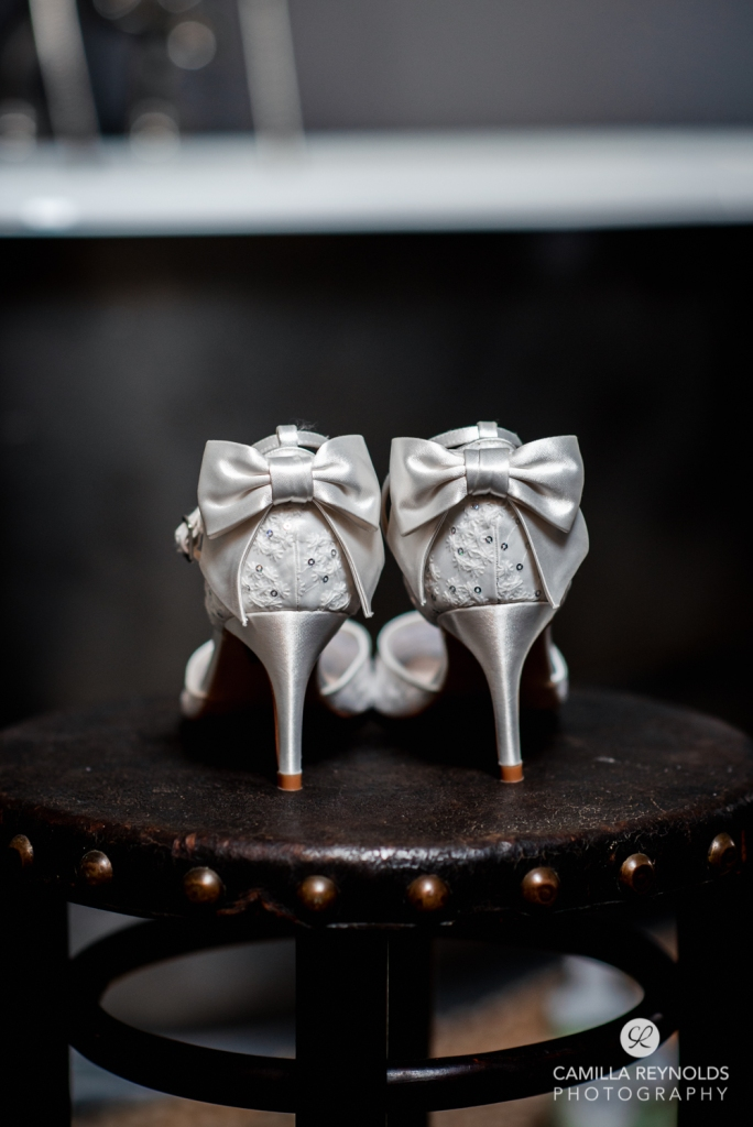 wedding bridal shoes with bow
