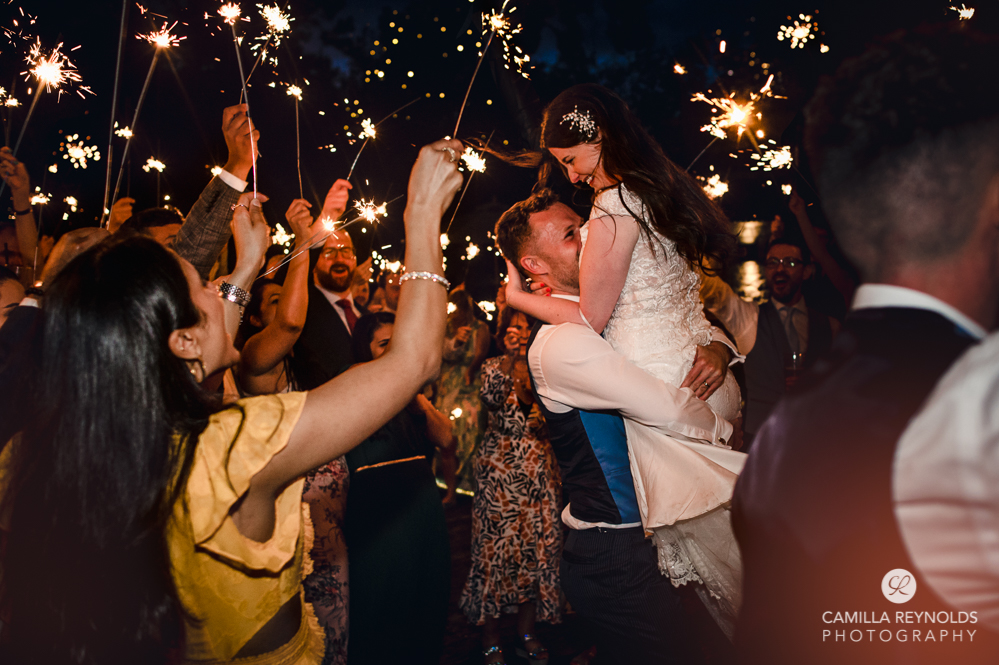 wedding sparklers bride and groom old gore stone barn cotswolds