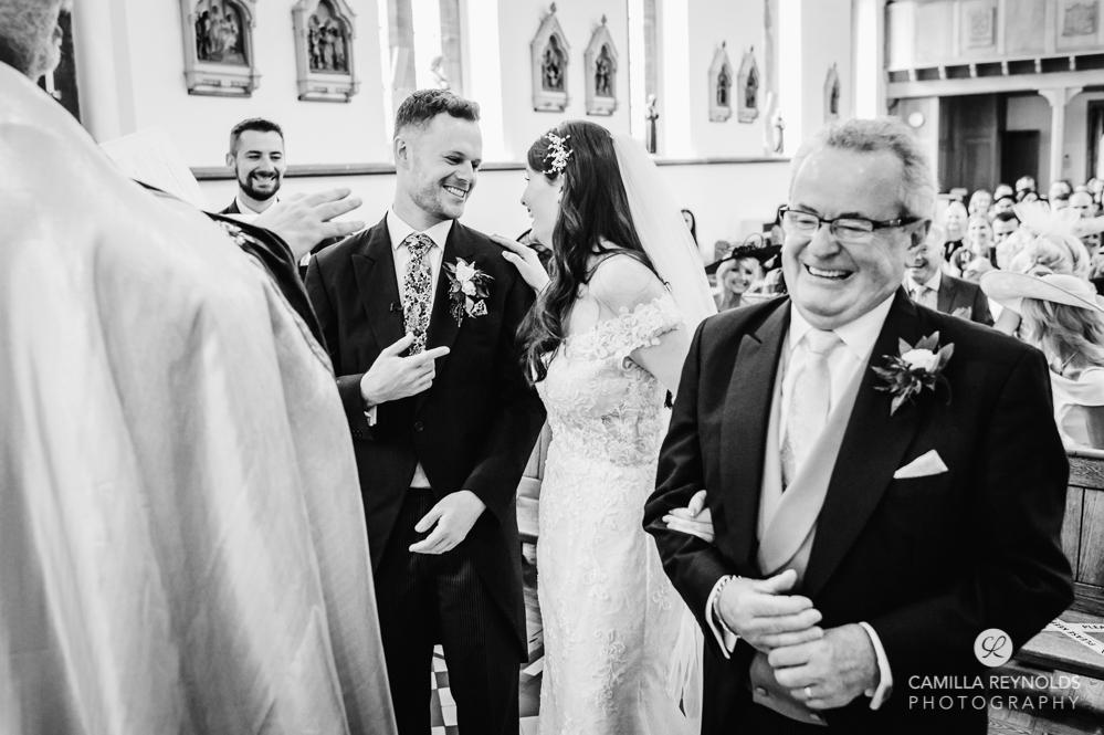 wedding ceremony church black and white