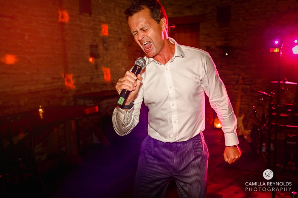 wedding disco dad singing cripps stone barn gloucestershire
