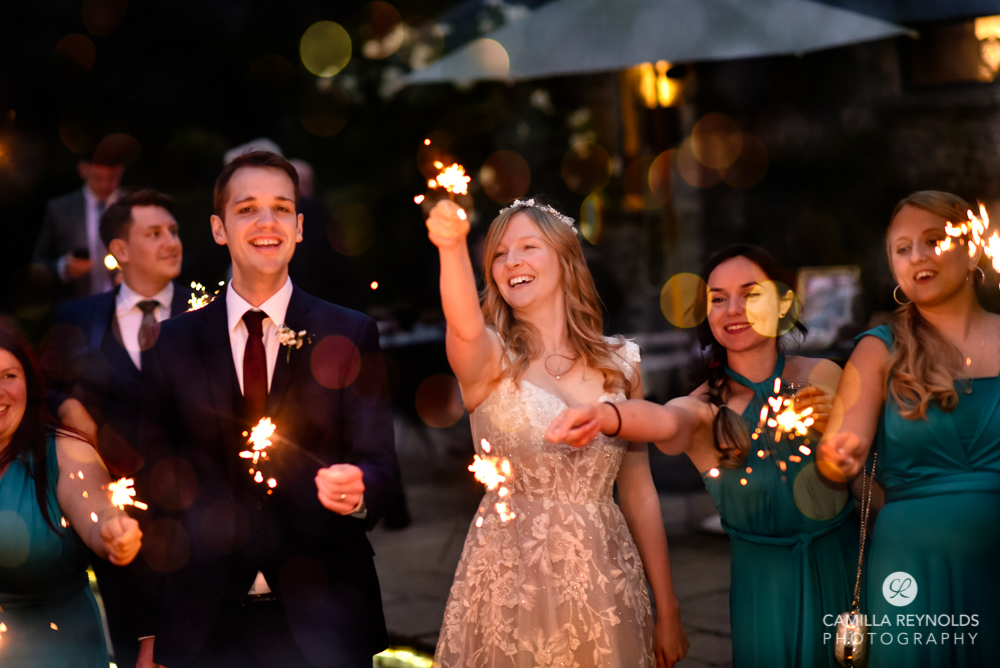 wedding sparklers cripps old gore stone barn cotswolds uk