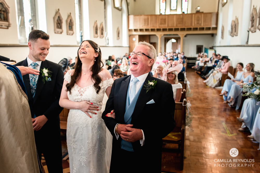 giving away of bride church st peters cirencester cotswold wedding photography