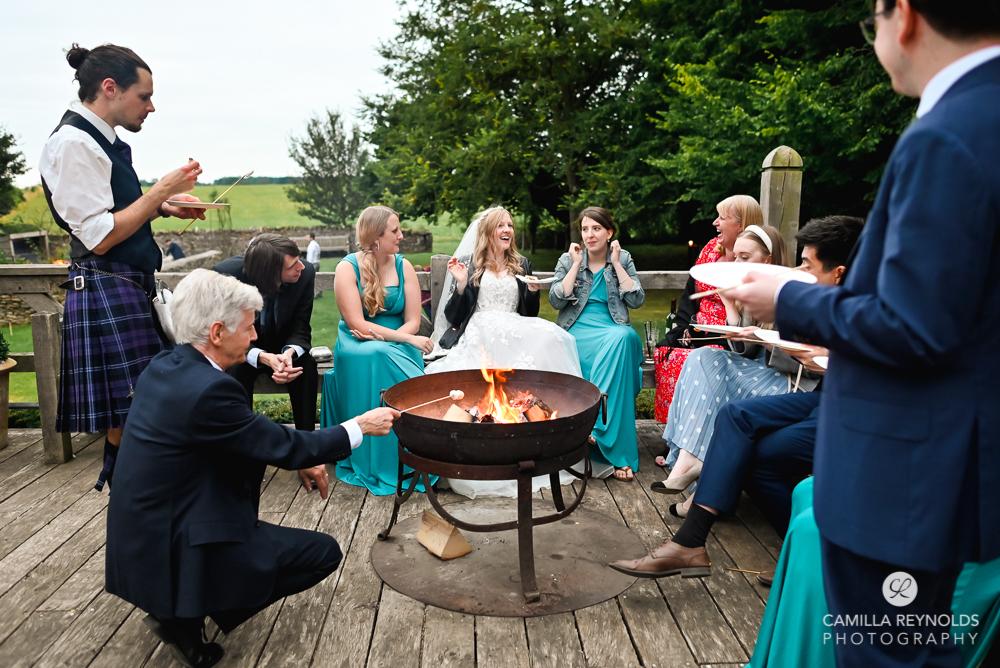 wedding firepit and marshmallows cripps barn natural wedding photography