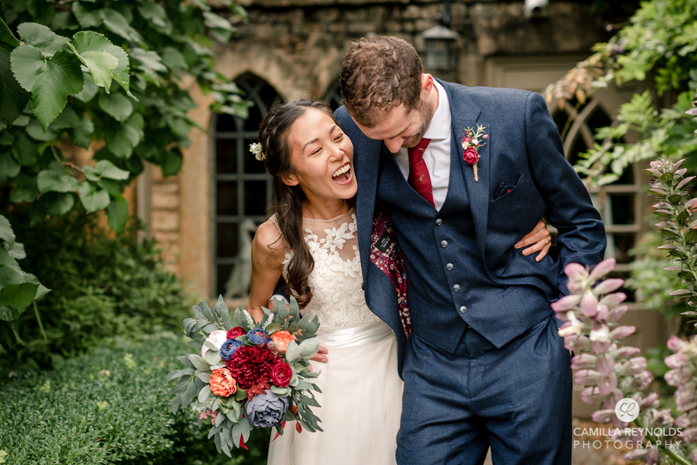 bride and groom in manor house hotel wedding Gloucestershire
