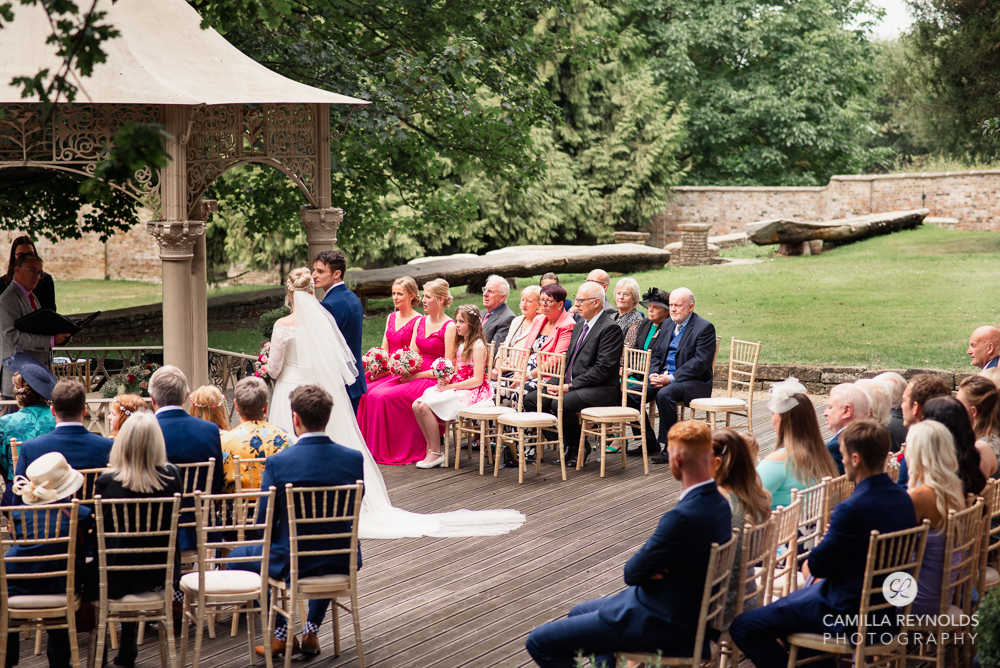 outdoor wedding ceremony at Eastington park Gloucestershire