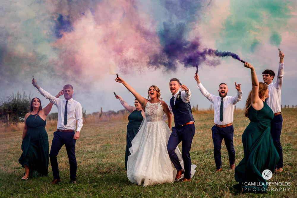 wedding smoke flares colourful photography cotswolds uk
