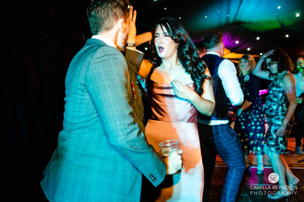 guests dancing colourful fun wedding photography Cheltenham uk