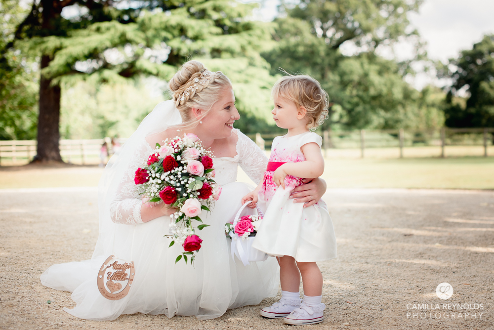 bride and flower girl cotswold wedding photography