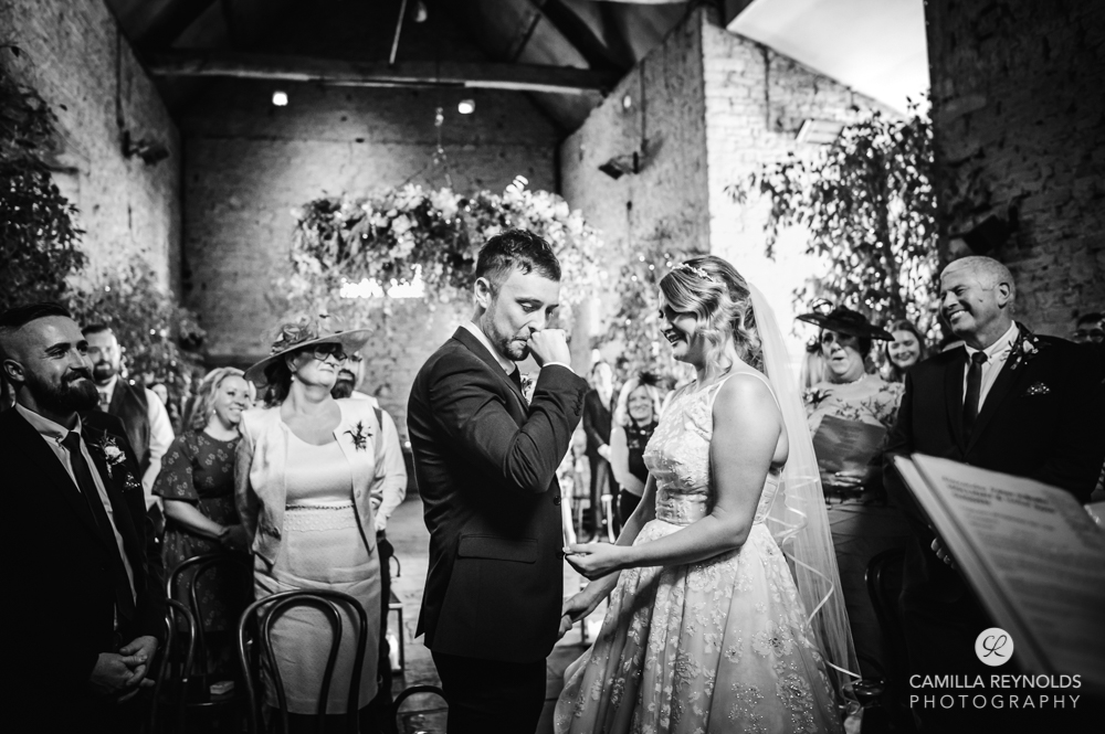 bride and groom cripps barn cotswold wedding