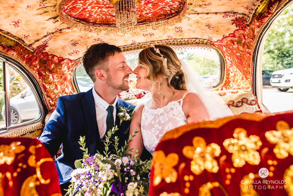 bride and groom in the car oxfordshire wedding photography