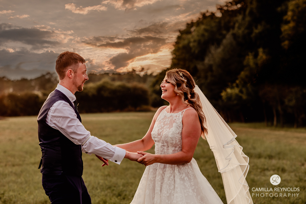 sunset wedding photography bride and groom Cripps old gore barn