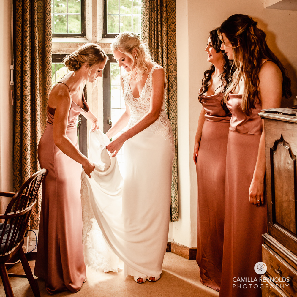 bride and bridesmaids natural wedding photography Cotswolds uk