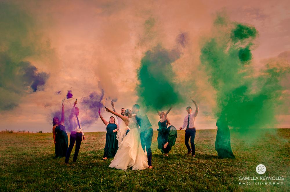 coloured smoke flares wedding photography wiltshire gloucestershire