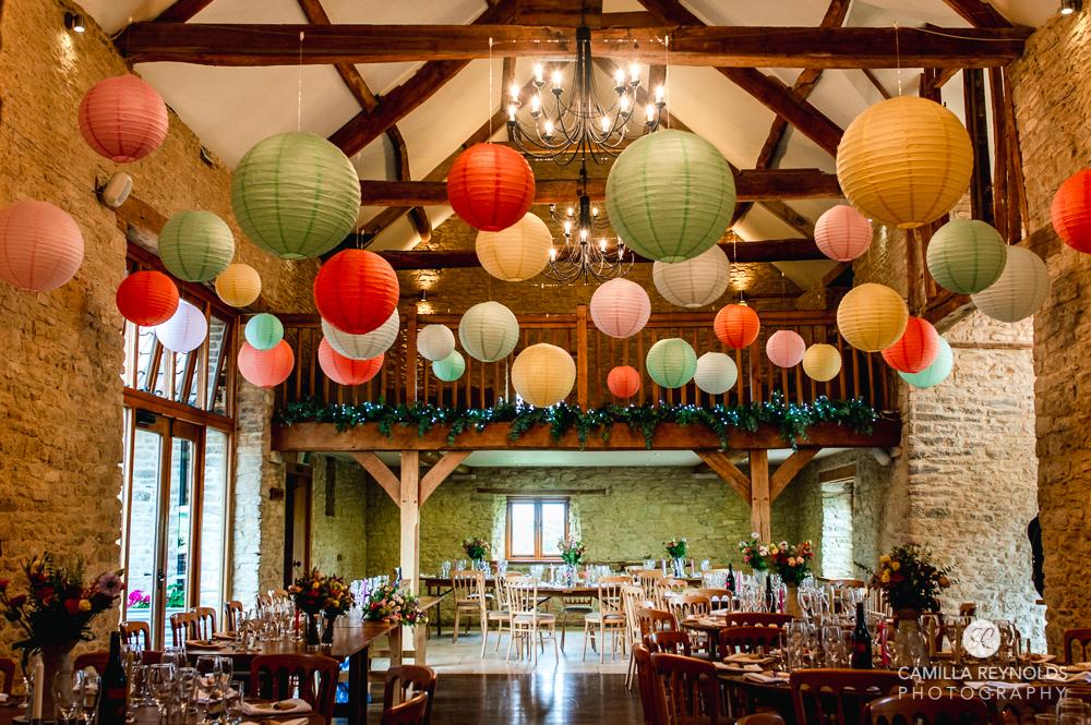 Kingscote barn lantern decorations wedding venue cotwolds uk