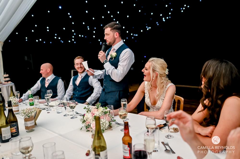 bride and groom speech marquee wedding oxfordshire
