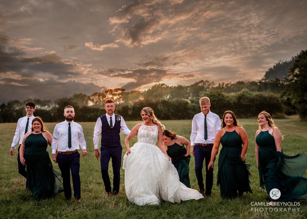 bride walking sunset wedding  photography  uk